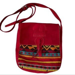 Vecachi Wool Leather Bag Southwest Ecuador Western
